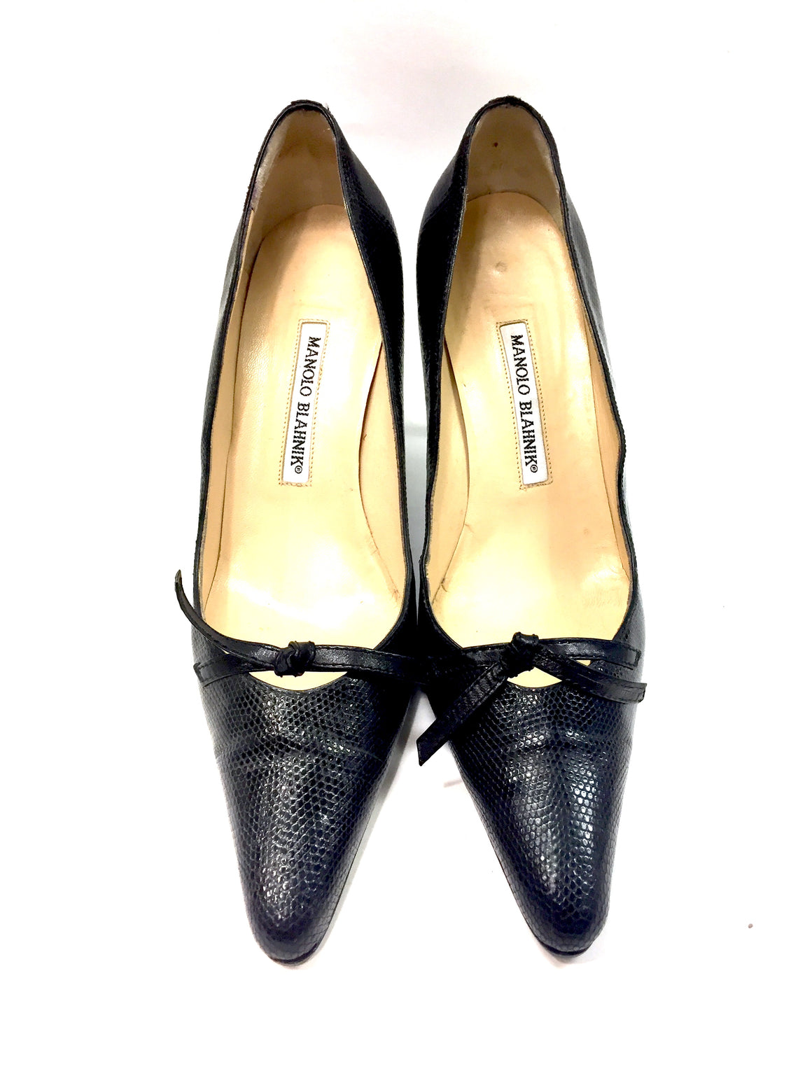 MANOLO BLAHNIK Black Lizard Skin Leather Knot Accent hi-Heel Pumps Sz39