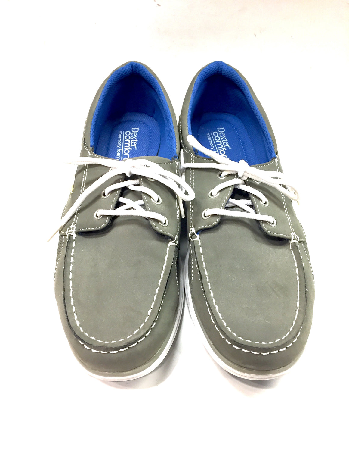 DEXTER COMFORT Gray Suede White Rubber Soles Memory Foam Men's Boat Shoes Top Siders Sz11