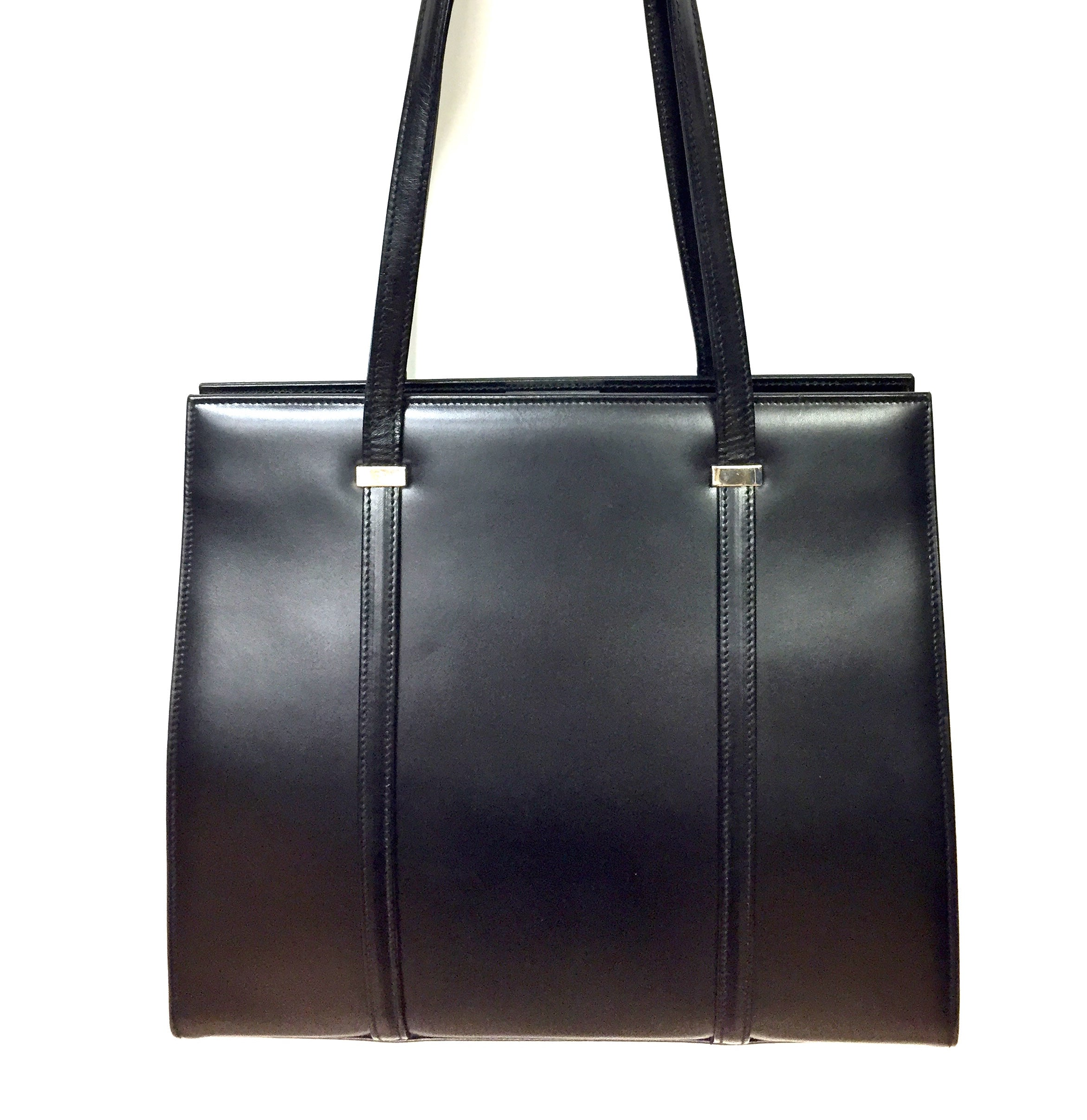 86d05da15f T. ANTHONY New York Black Smooth Leather Rigid Frame Shoulder Hand Bag
