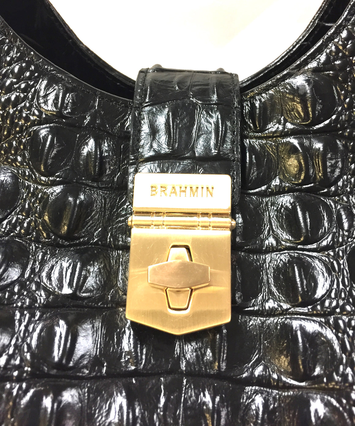 BRAHMIN  Black Croc-Patterned Leather ELISA BLACK MELBOURNE Shoulder Hand Bag