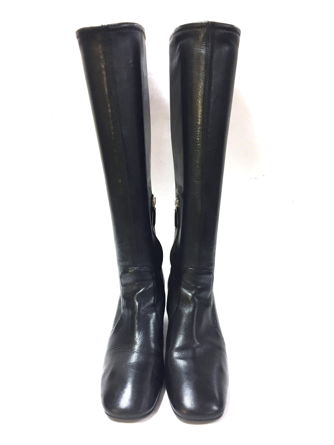 PRADA Black Stretch Leather Block Heel Tall Boots Size: 36.5 / 6.5