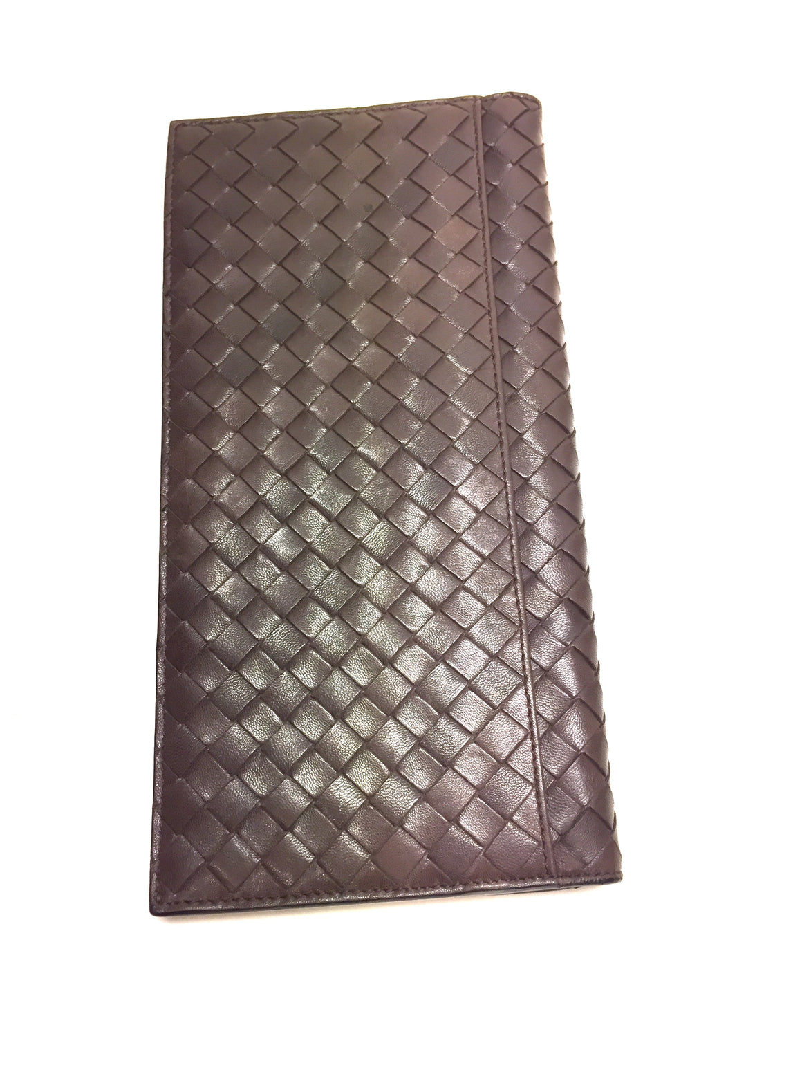 BOTTEGA VENETA Brown Intreciatto Woven Leather Long Wallet
