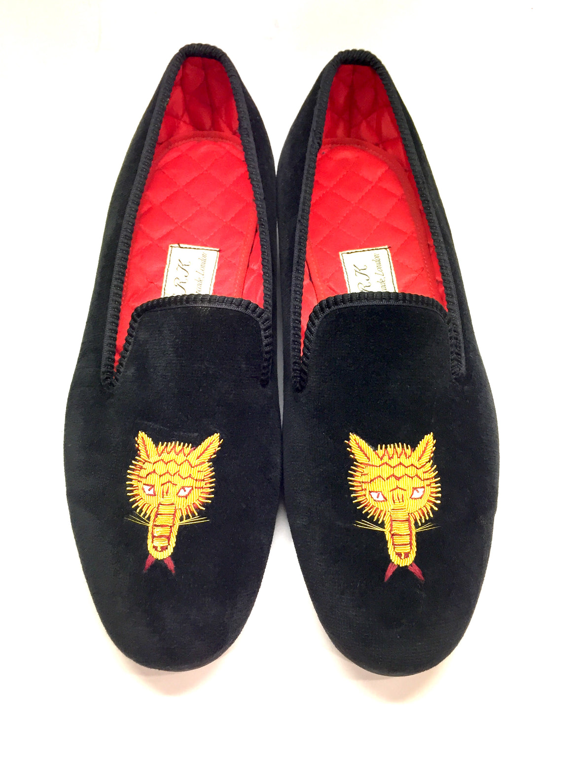 BERK BURLINGTON ARCADE Black Velvet Gold Cat Hand-Made Men's Slippers Shoes Sz8.5