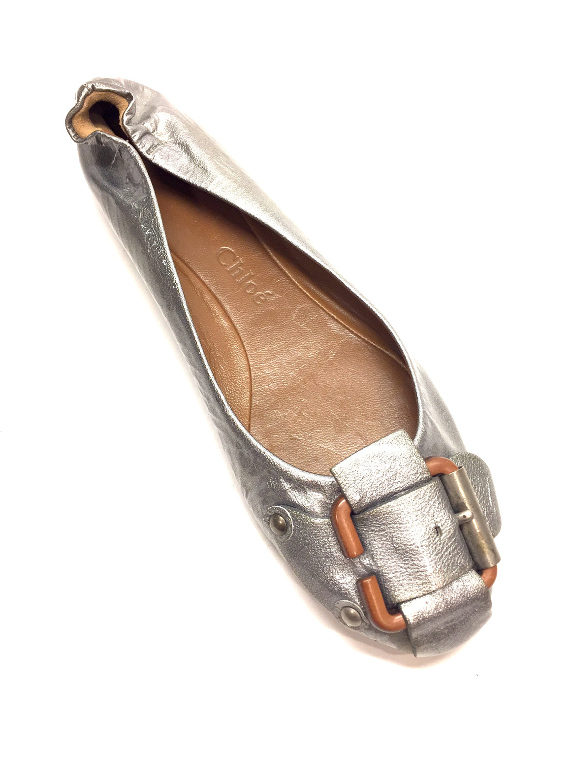 CHLOE Silver Grained oatent Leather Tan Buckle Ballet Flats Sz40