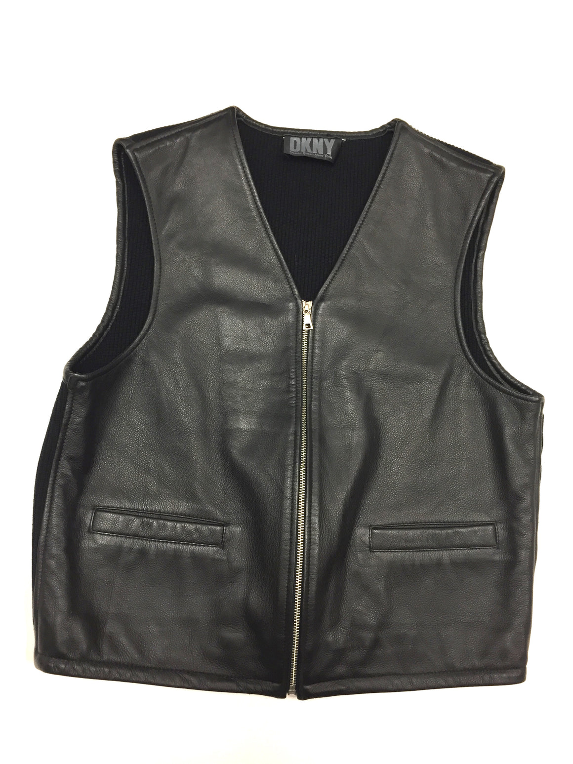 bisbiz.com DKNY - DONNA KARAN  Black Grained Leather & Black Rib-Knit Cotton Men's Vest Size: Small / Medium - Estimated - Bis Luxury Resale