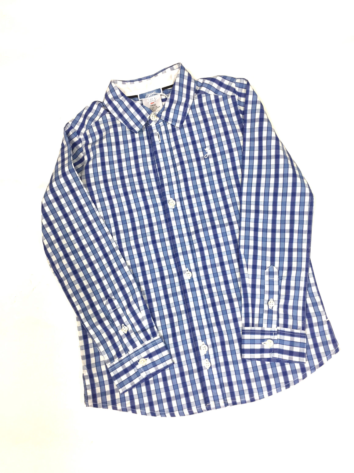 JACADI   New Navy/White Gingham-Print Cotton Boys' Button Down Shirt Size:  6 Years