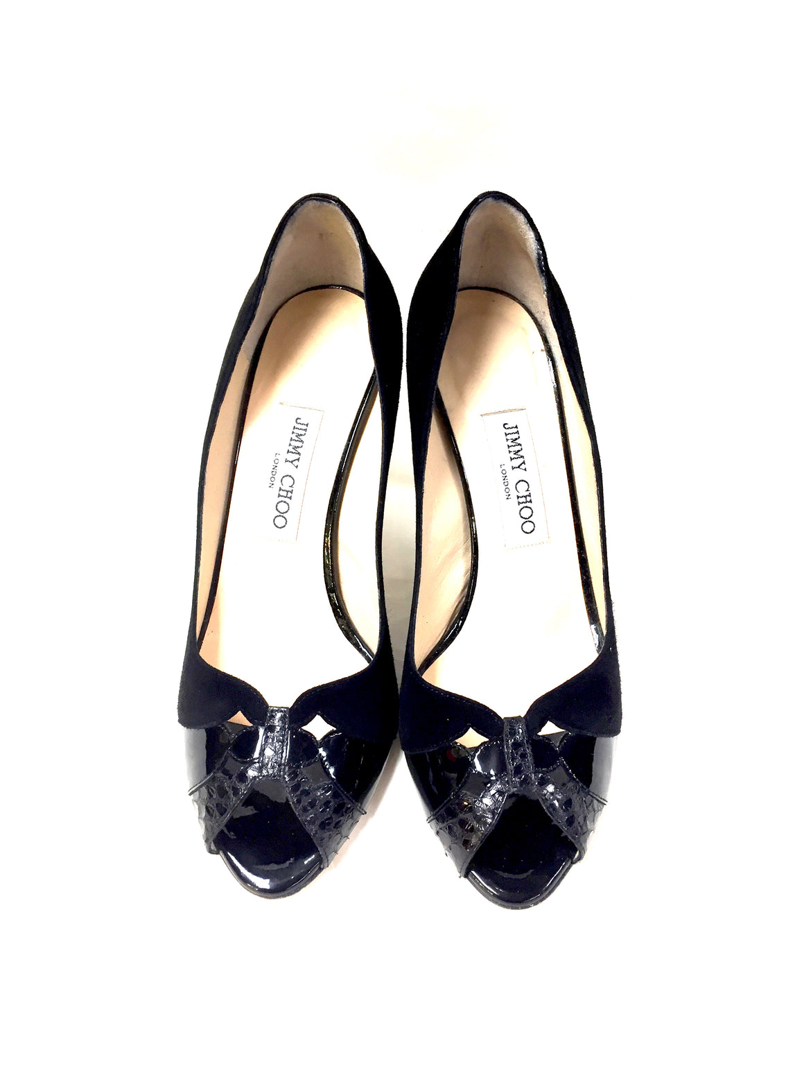 JIMMY CHOO Black Suede Black Patent Leather & Python Skin Accent Peep-Toe Heel Pumps Shoes Size: 39 / 9