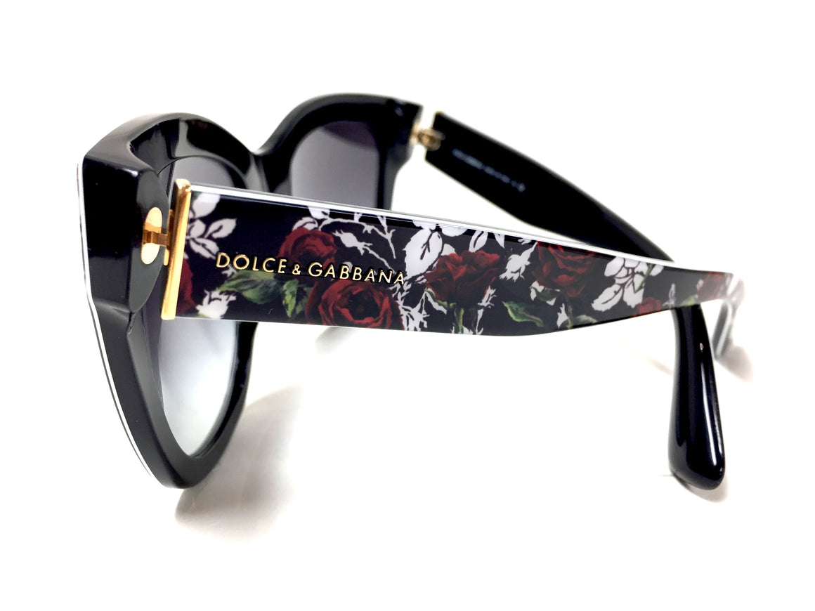 bisbiz.com DOLCE & GABBANA     Black/Multicolor Floral-Print Frame Cat Eye Sunglasses  with Dark Gray Lenses  Style #DG4270 3019/8G - Bis Luxury Resale
