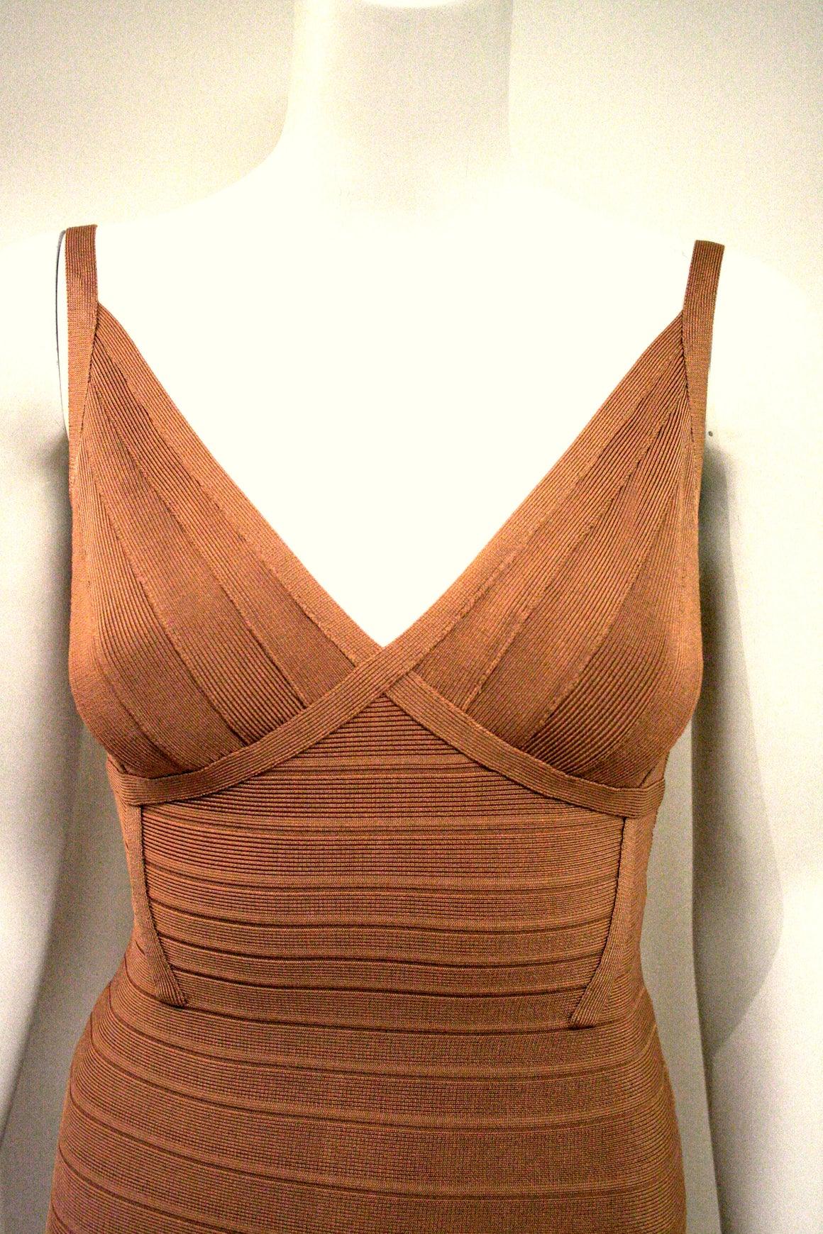 "bisbiz.com HERVE LEGER New with Tags Tamarind Color Signature Bandage ""SCARLETT"" Sleeveless Dress Size: Extra Small - Bis Luxury Resale"
