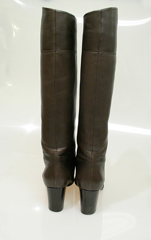 bisbiz.com CHRISTIAN LOUBOUTIN Brown Leather Knee-High Boots - Bis Designer Resale