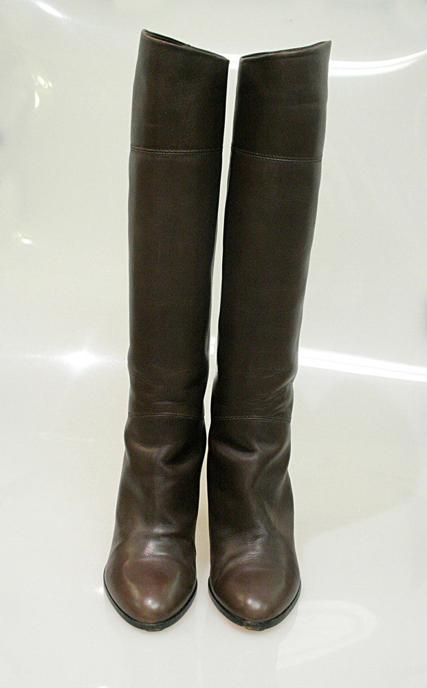 hot sale online dc7fa 29187 CHRISTIAN LOUBOUTIN Brown Leather Knee-High Boots