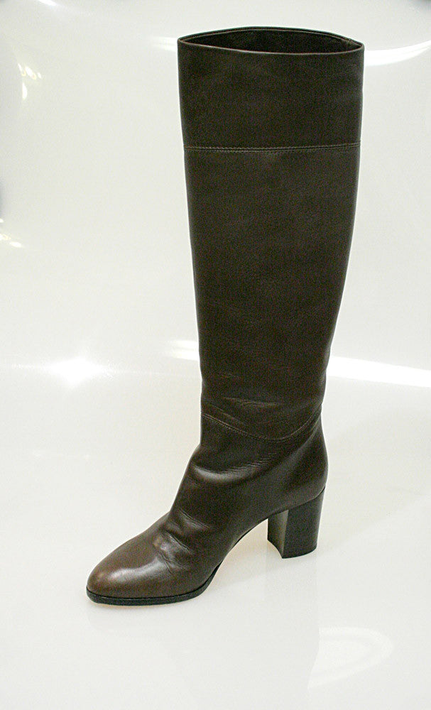 dd7a4c5f184 ... bisbiz.com CHRISTIAN LOUBOUTIN Brown Leather Knee-High Boots - Bis  Luxury Resale ...