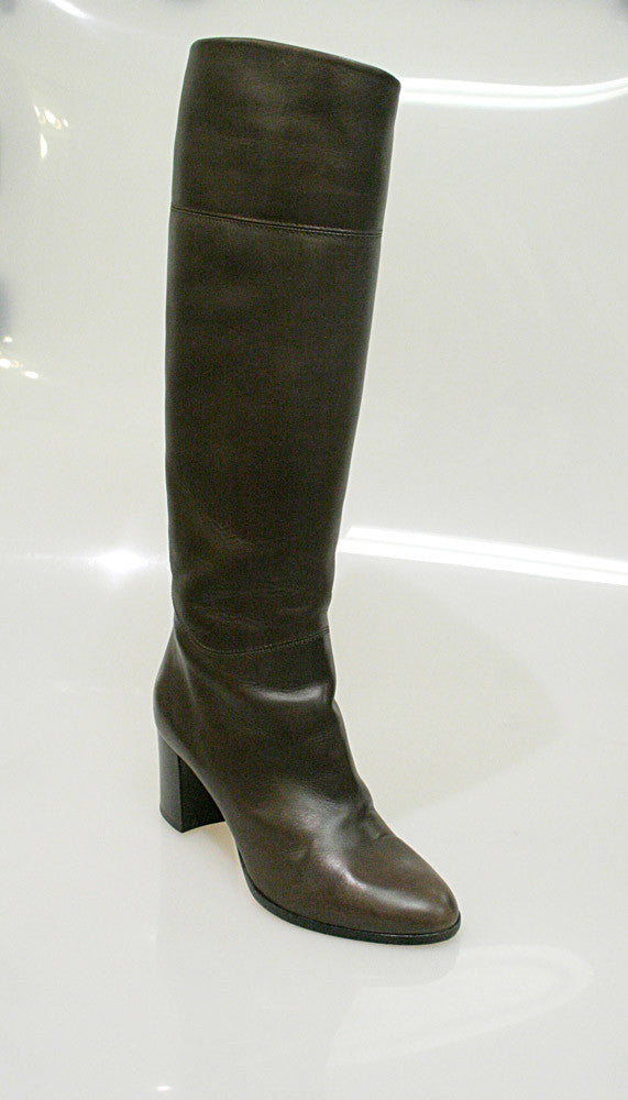 hot sale online bca47 b232e CHRISTIAN LOUBOUTIN Brown Leather Knee-High Boots