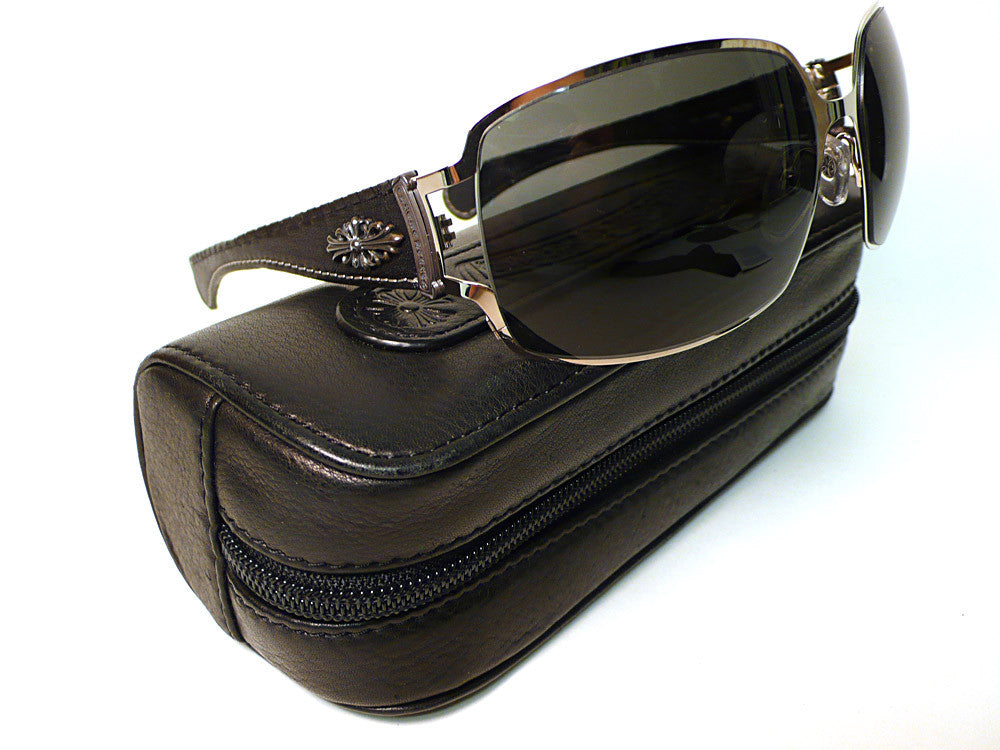 bisbiz.com CHROME HEARTS Poon1 Black Leather Sunglasses - Bis Luxury Resale