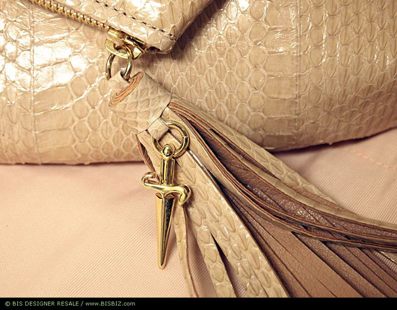 bisbiz.com CESARE PACCIOTTI   Beige Python Angled Zipper-Top Tassel Accent  Clutch Bag Purse - Bis Luxury Resale