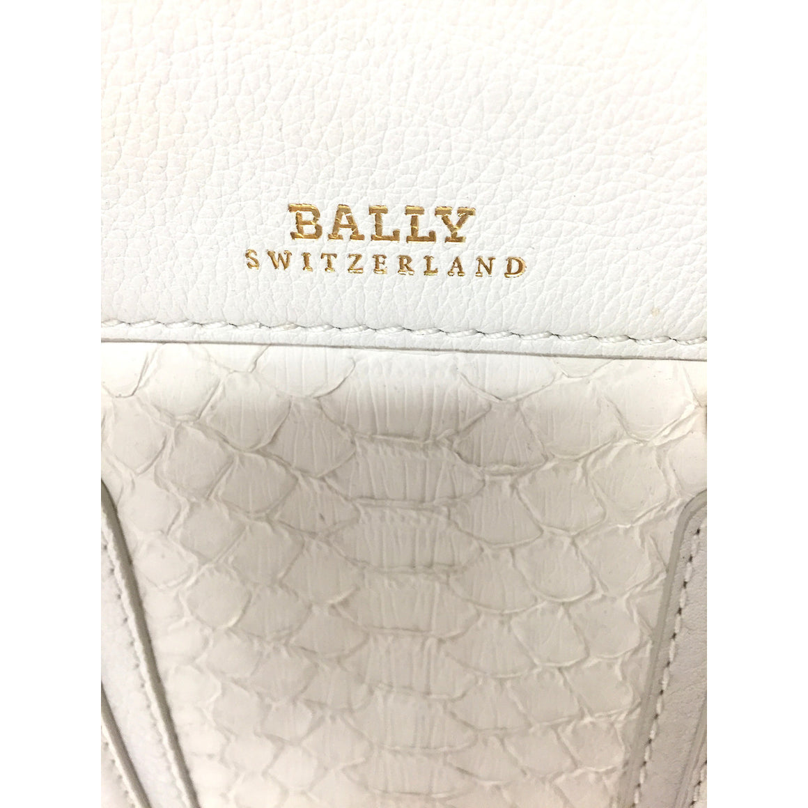 BALLY of SWITZERLAND White Leather & Python Skin 'DELFINA GRANDE' Hand Bag Tote