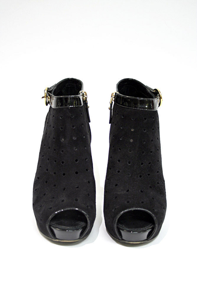 bisbiz.com LOUIS VUITTON Black Suede & Leather Peep-Toe Stiletto Booties - Bis Luxury Resale