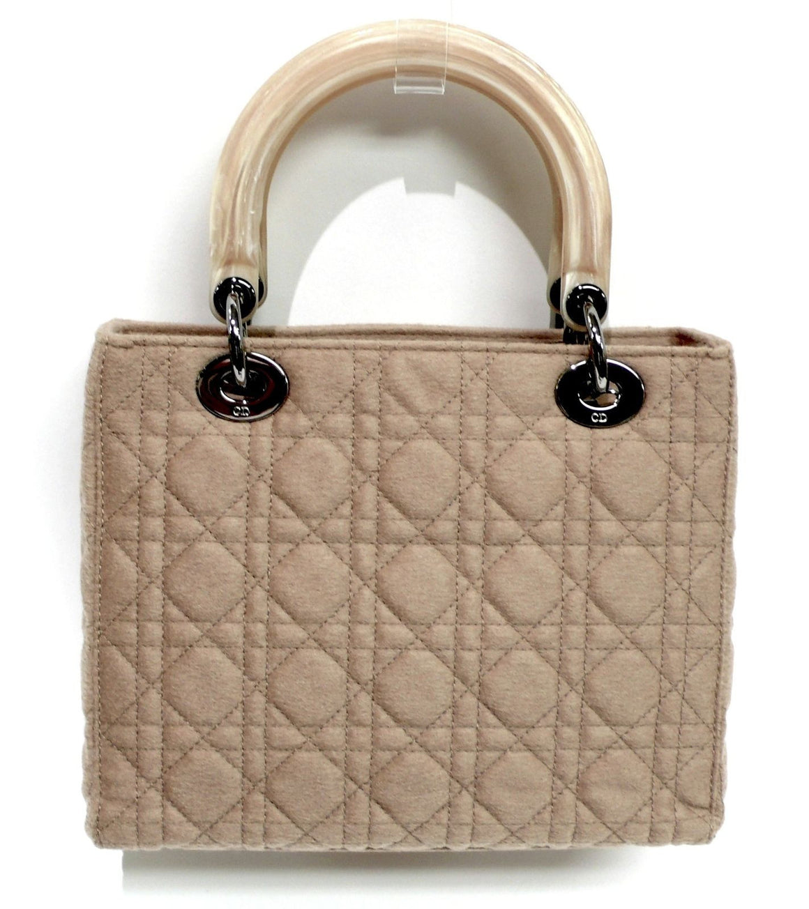 bisbiz.com CHRISTIAN DIOR LTD EDITION Iconic Lady Dior Camel Cannage Quilted Felt Hand Bag - Bis Luxury Resale