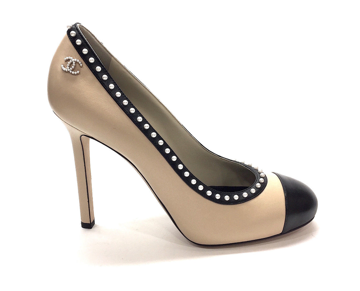bisbiz.com New CHANEL Beige Leather Black Cap-Toe Pearl-Trim Classic Ballet Heel Pumps 39.5 - Bis Luxury Resale