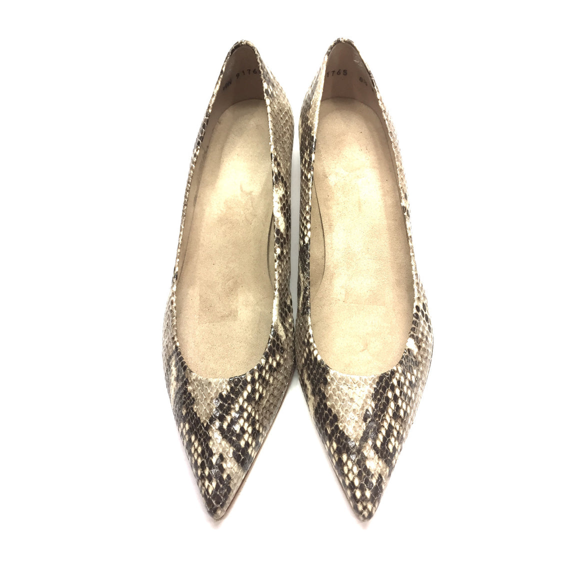 STUART WEITZMAN Brown/Beige Python Pointed-Toes Kitten Heels Pumps Shoes Sz8.5M