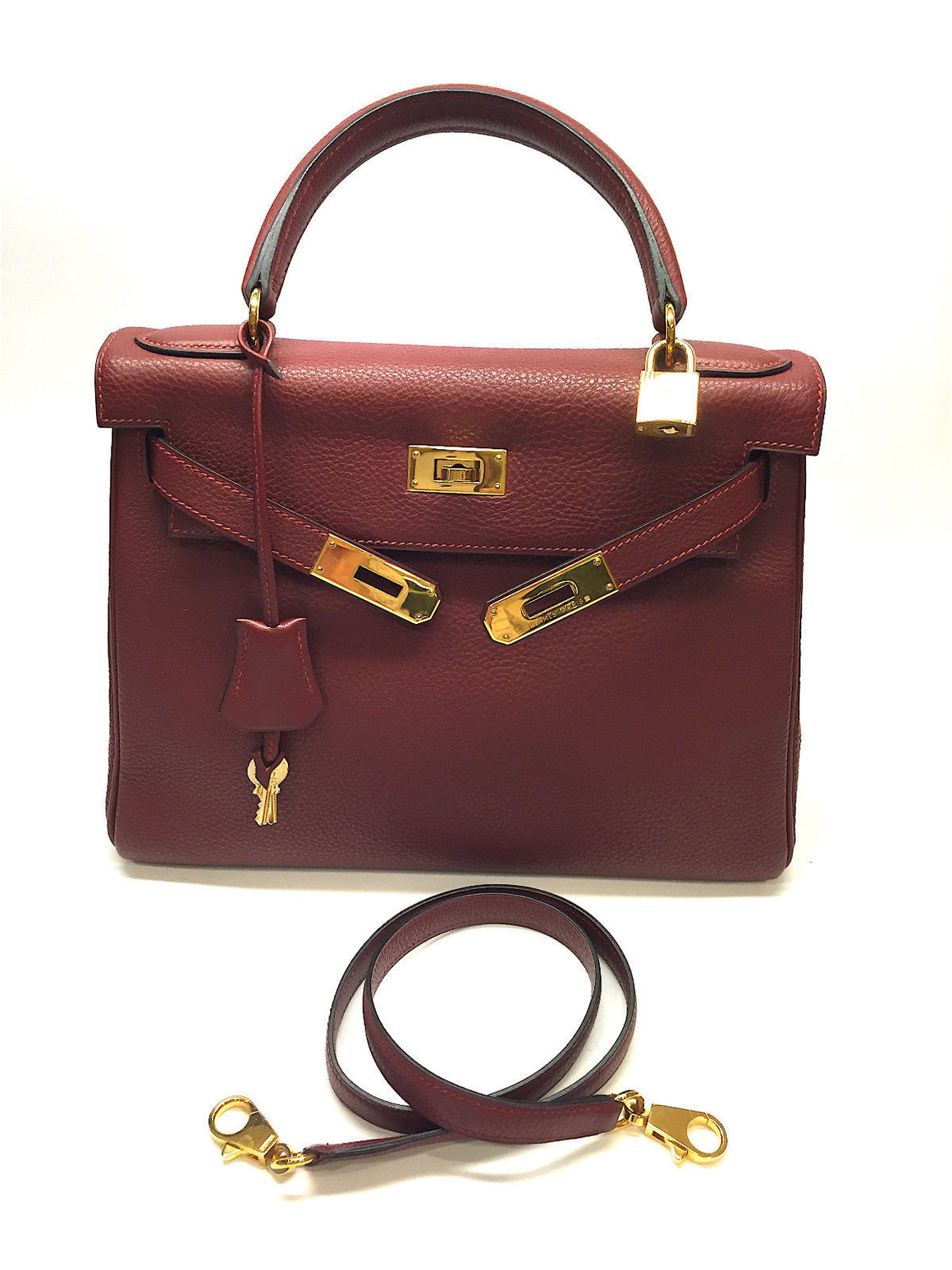 Hermes Kelly 28cm Rouge H Togo Leather Gold H/W Retourne Bag