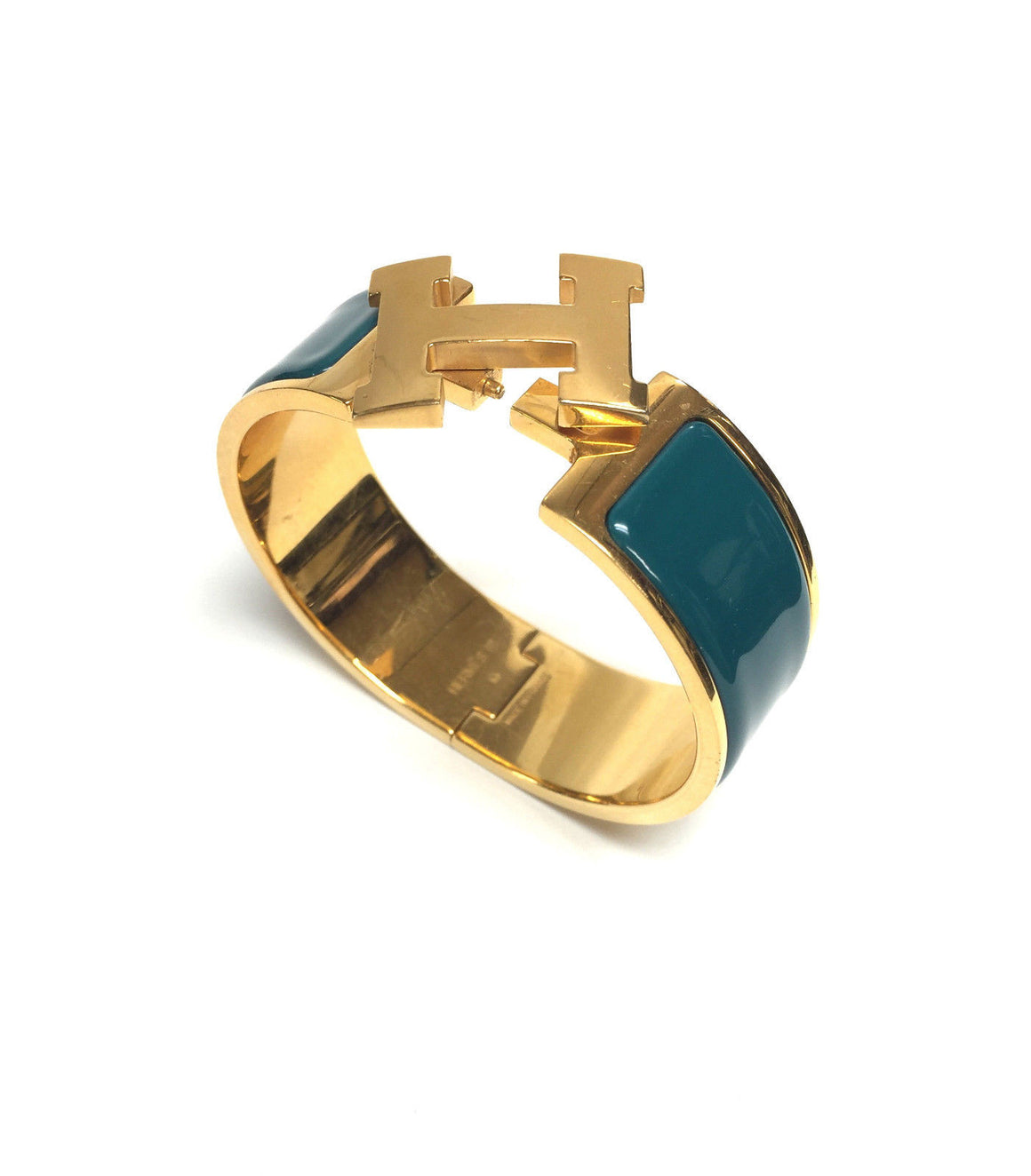 bisbiz.com HERMES Gilt-Metal Verona-Green Enamel Clic-Clac Bangle Bracelet - Bis Luxury Resale