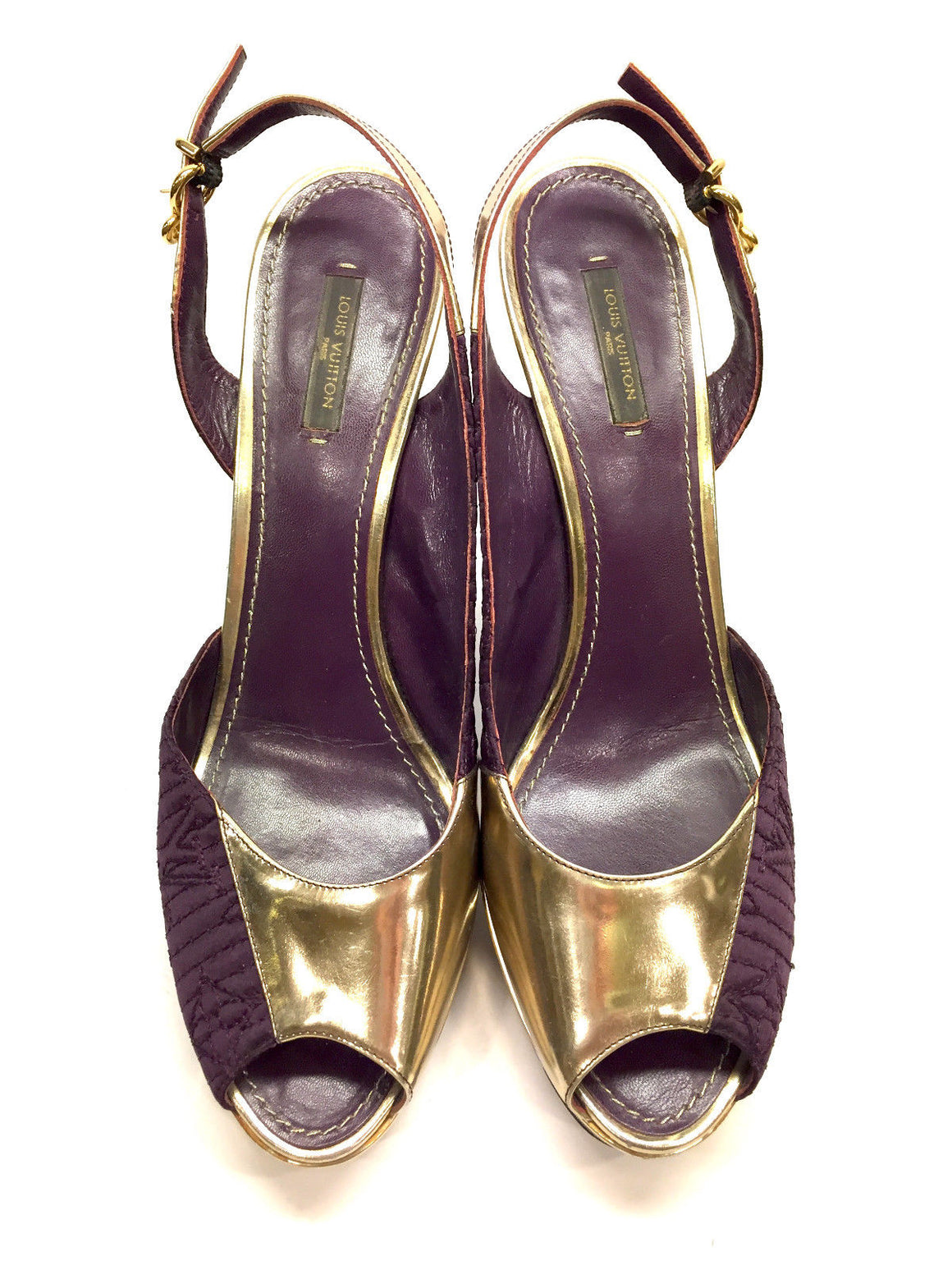 LOUIS VUITTON Purple Silk / Gold Leather Peep-Toe Platform Heel Slingbacks Shoes  Size: EU41/US10.5