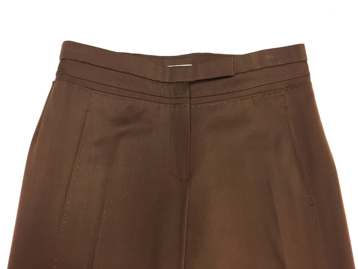 bisbiz.com CHADO RALPH RUCCI Brown Wool Straight-Leg Stitching Accents Pants Size: 6 - Estimated - Bis Luxury Resale