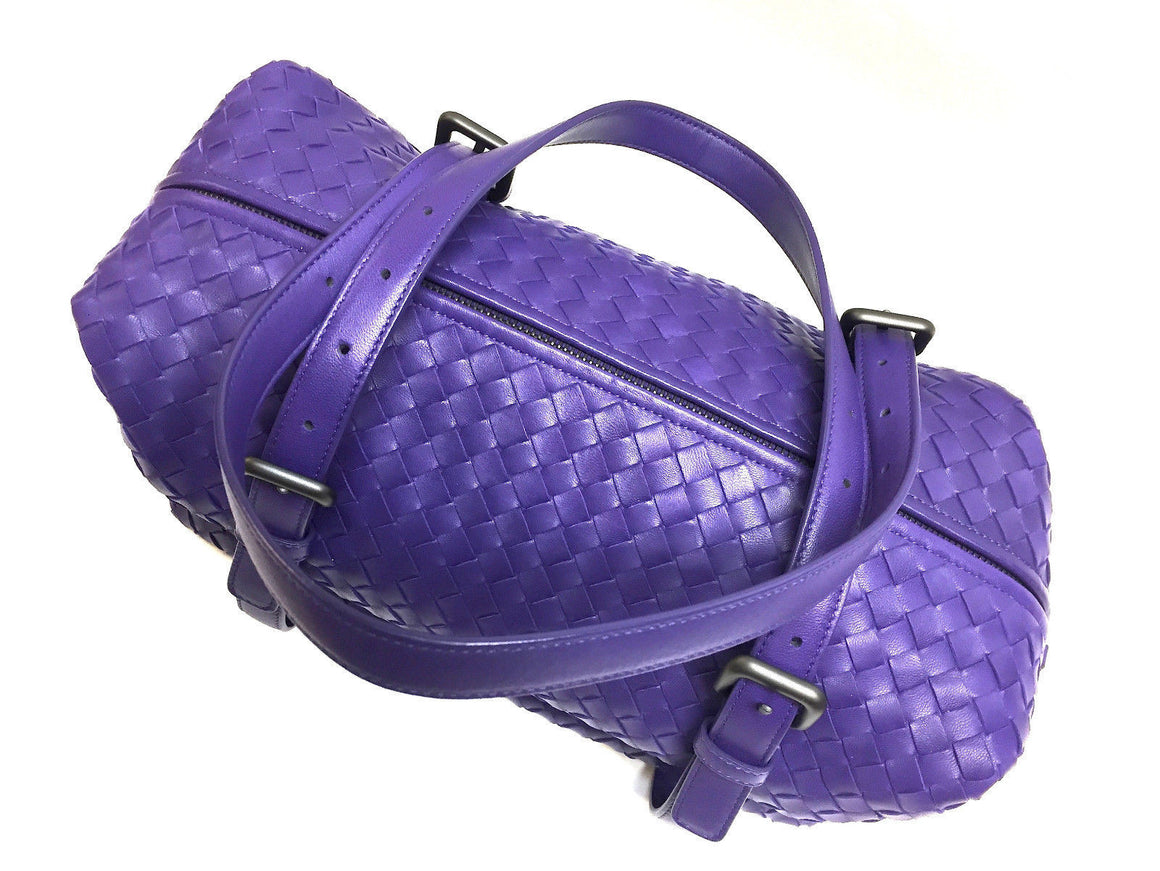 bisbiz.com BOTTEGA VENETA  Purple Intreciatto Woven Leather  Zip-Top Duffel Shoulder Hand Bag - Bis Luxury Resale