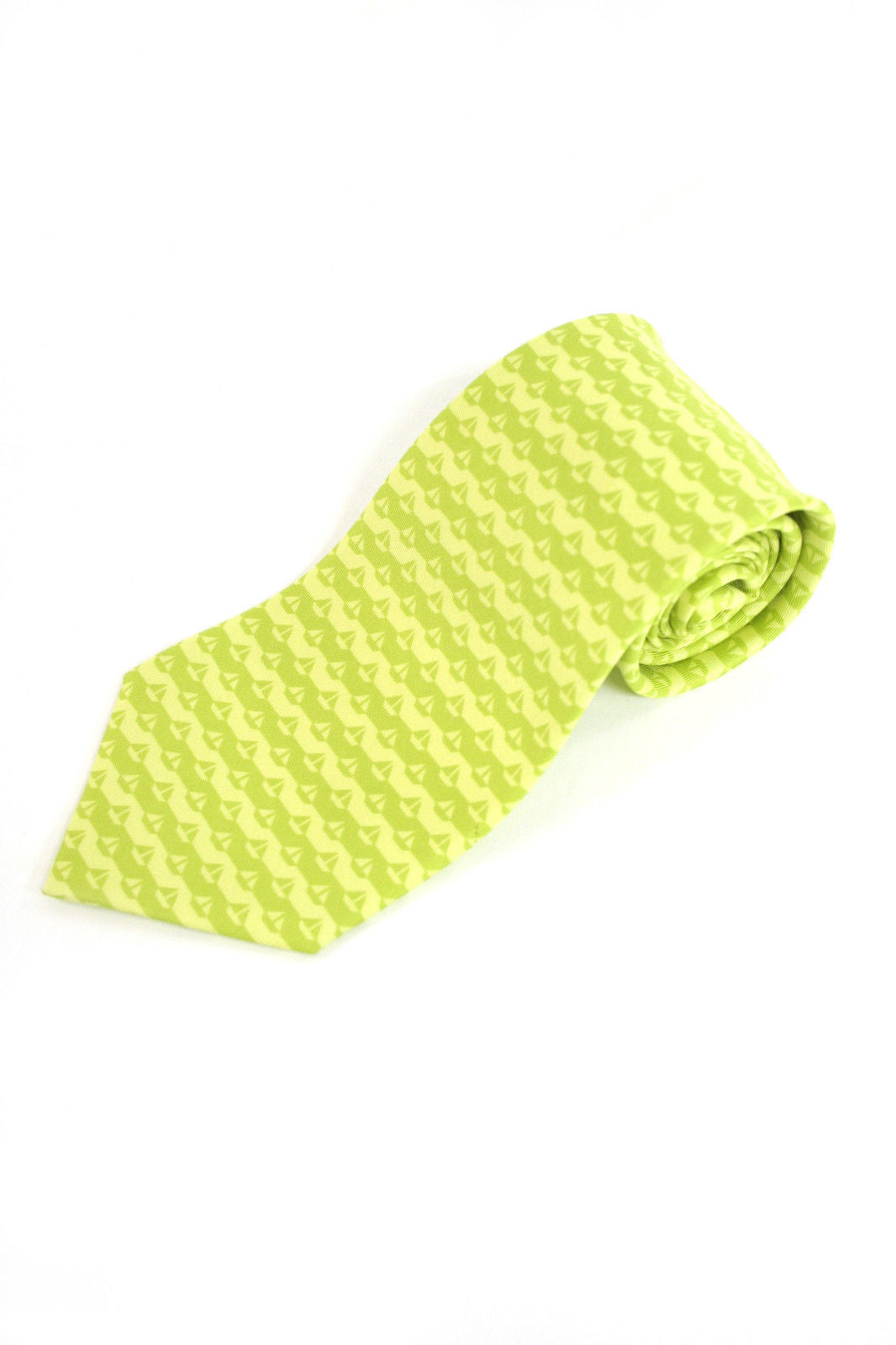 Unique HERMES Yellow/Lime Green Sail-Boat Print Silk Twill Men's Tie  ST34