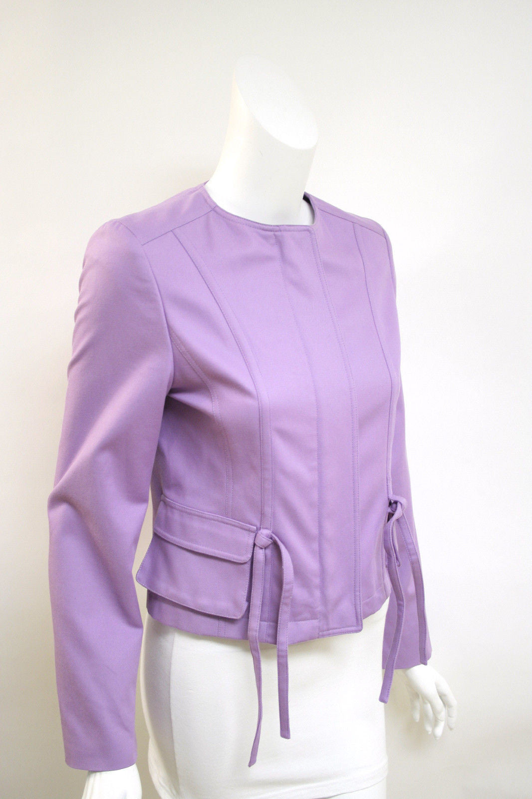bisbiz.com BURBERRY  Lavender Cotton Blend Collarless Zip Front Jacket  Size: UK 10 / US 8 - Bis Luxury Resale