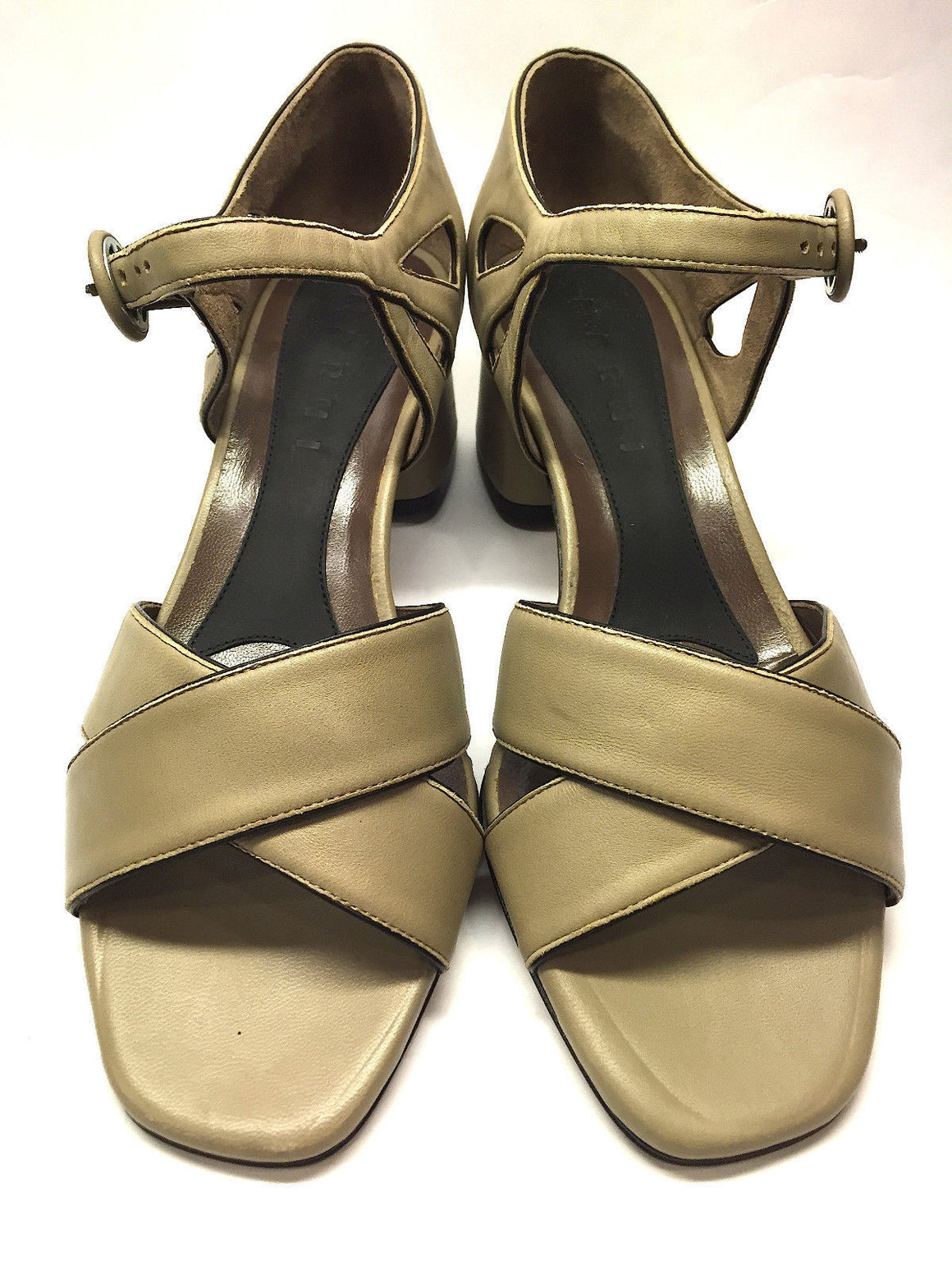 bisbiz.com MARNI Taupe Leather Open-Toe Ankle-Strap  Block-Heel Sandals Shoes  Size: 36.5 / 6.5 Description: - Bis Luxury Resale