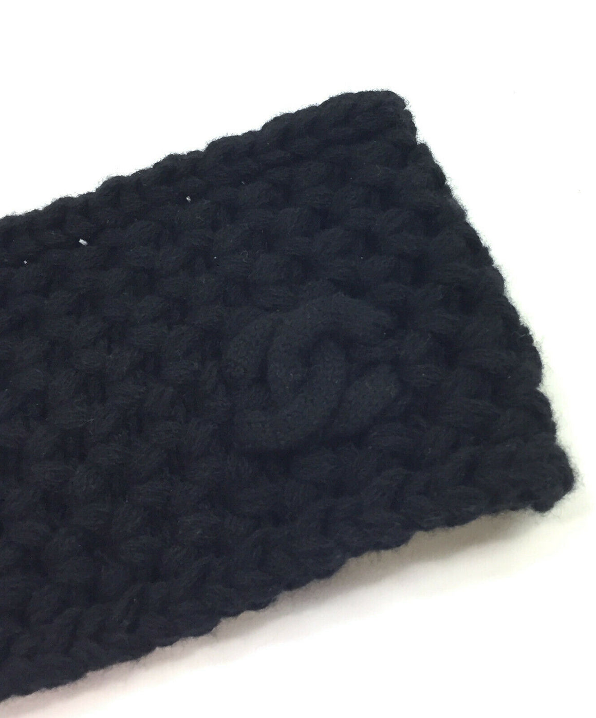 CHANEL Black Cashmere Knit Headband Size: O/S