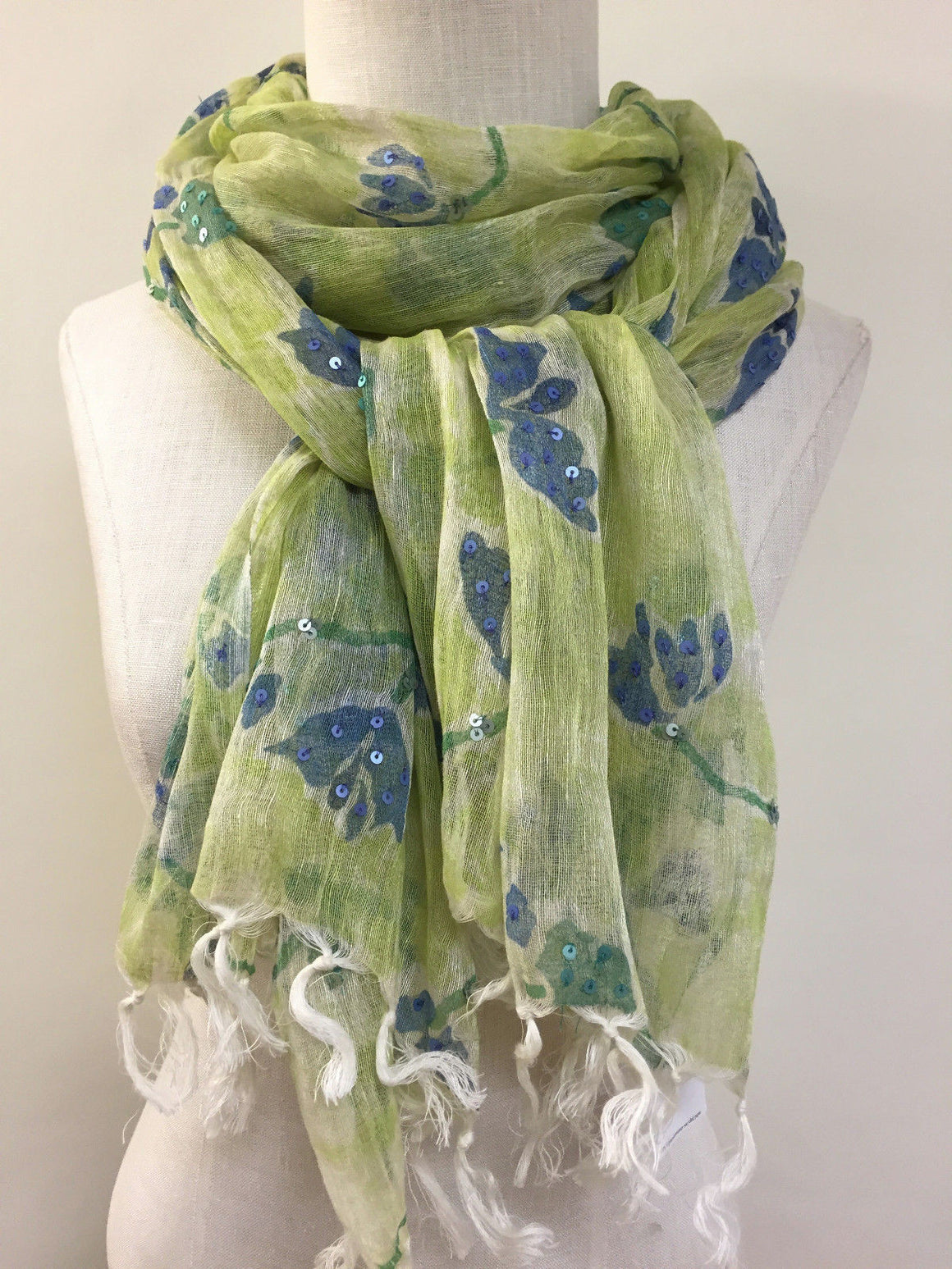 "bisbiz.com ELIZABETH GILLETT New with Tags Green/Blue Floral-Print Linen/Cotton Sequined ""Rianna"" Shawl Scarf - Bis Luxury Resale"