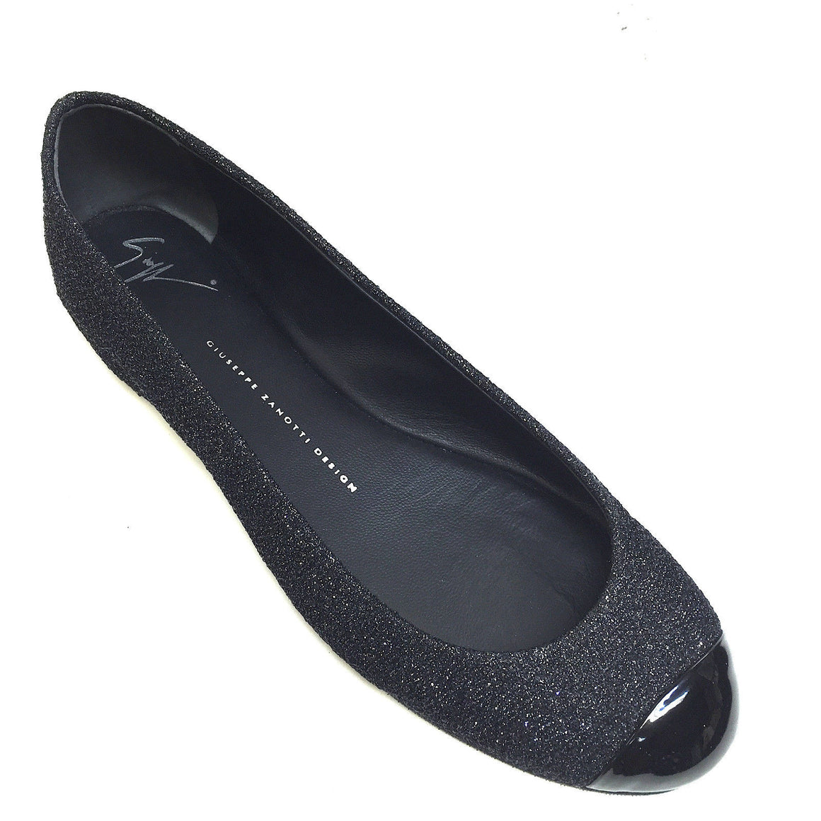 bisbiz.com GIUSEPPE ZANOTTI  Charcoal Glitter Black Patent Leather Toe Ballet Flats Shoes  Size: 39.5 - Bis Luxury Resale