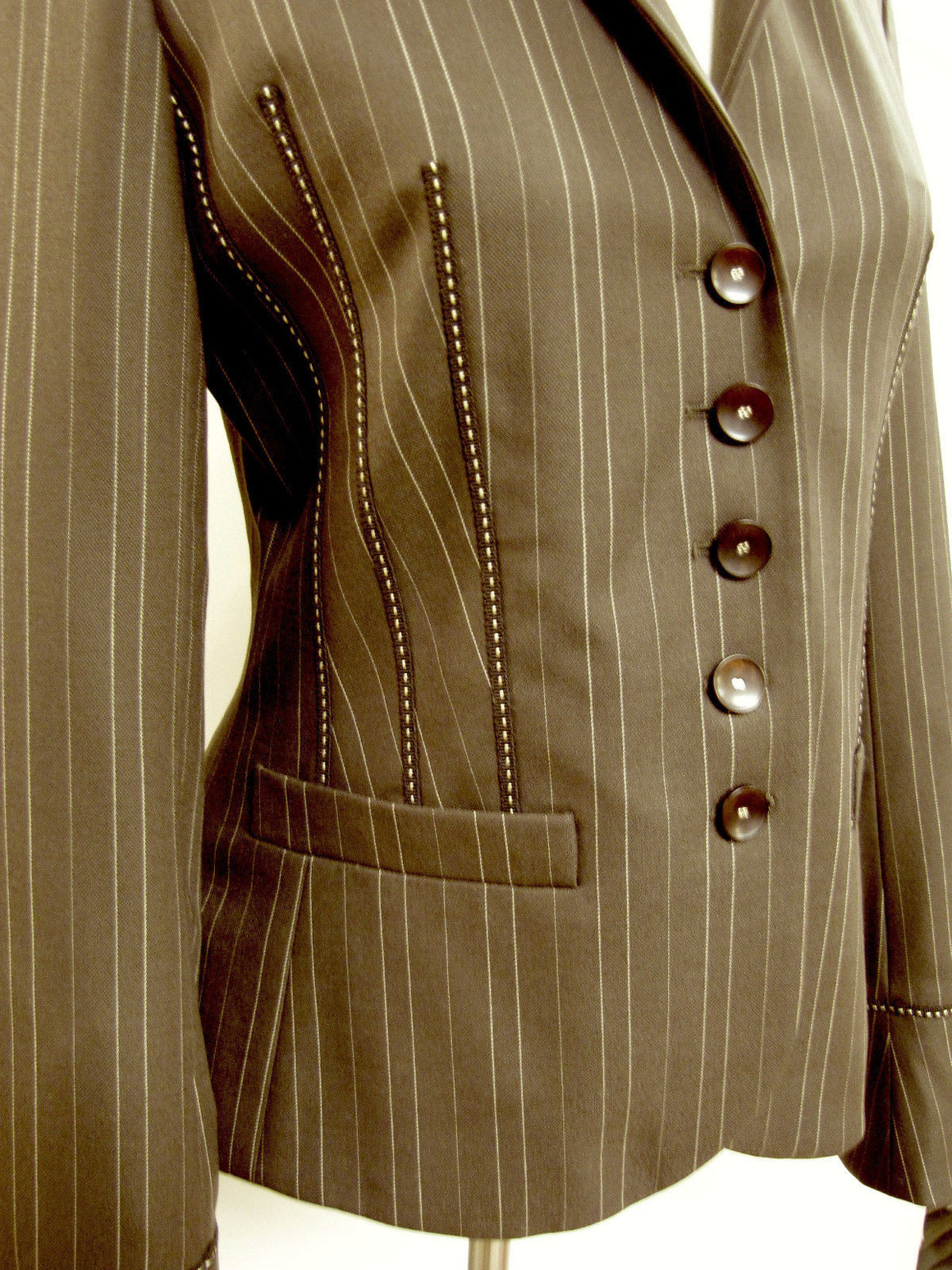 bisbiz.com ESCADA  For  NEIMAN MARCUS   Brown Pinstriped Wool/Silk Grosgrain Ribbon Trim Jacket  Size: 4 - Bis Luxury Resale