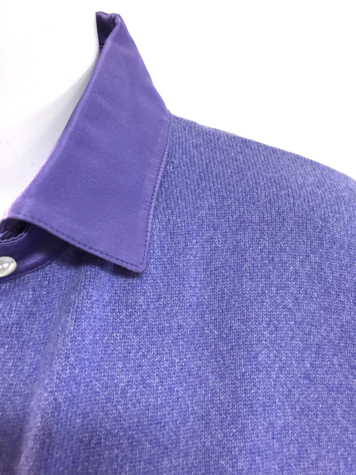 bisbiz.com RICHARD GRAND Lavender-Purple Silk Satin Collar Cashmere Cardigan Sweater Size: M - Bis Luxury Resale