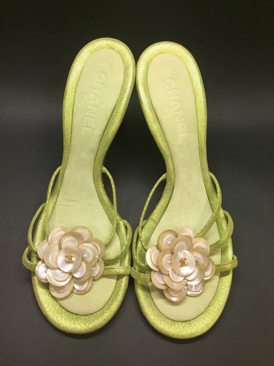 CHANEL  Vintage - New Iridescent-Green Suede Mother-of-Pearl Camellia Heel Mules Sandals Size: 39.5 / 9.5