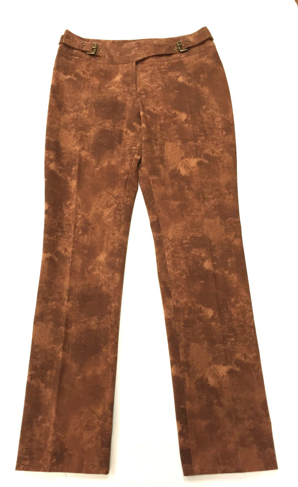 bisbiz.com CELINE Cinnamon-Brown Tie-Dyed Print Crossover Waistband Slim-Leg  Pants Size: FR 38/ US6 - Bis Luxury Resale