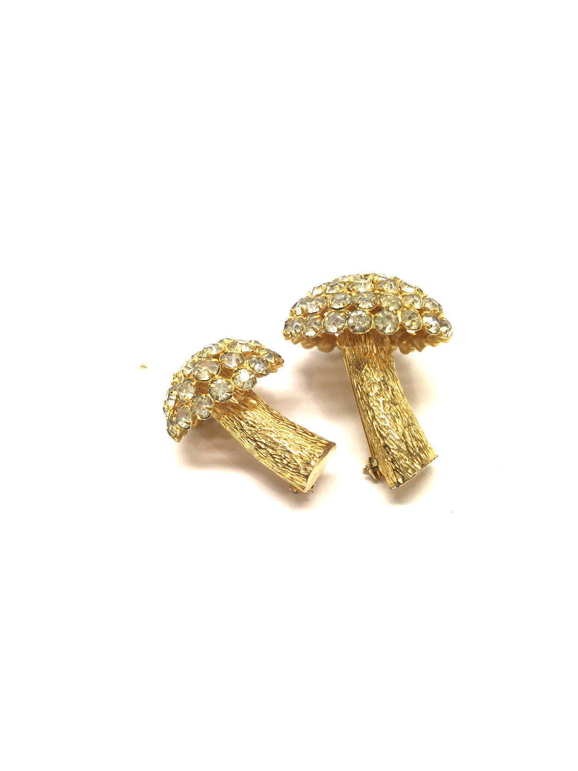 bisbiz.com CASTLECLIFF  Set of Two Gold-tone Crystal-Studded Mushroom Pins Brooch - Bis Luxury Resale