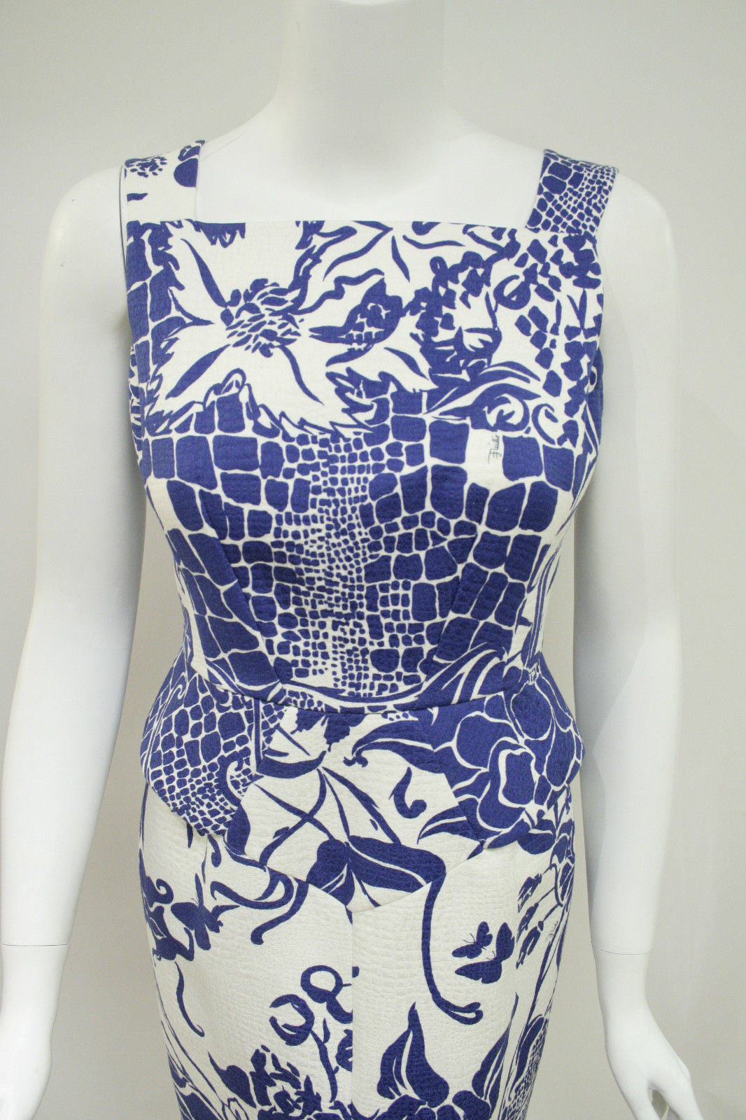 bisbiz.com PUCCI   White/Royal-Blue Floral-Print Cotton Blend  Sleeveless Dress  Size: IT 42 / US 6 - Bis Luxury Resale