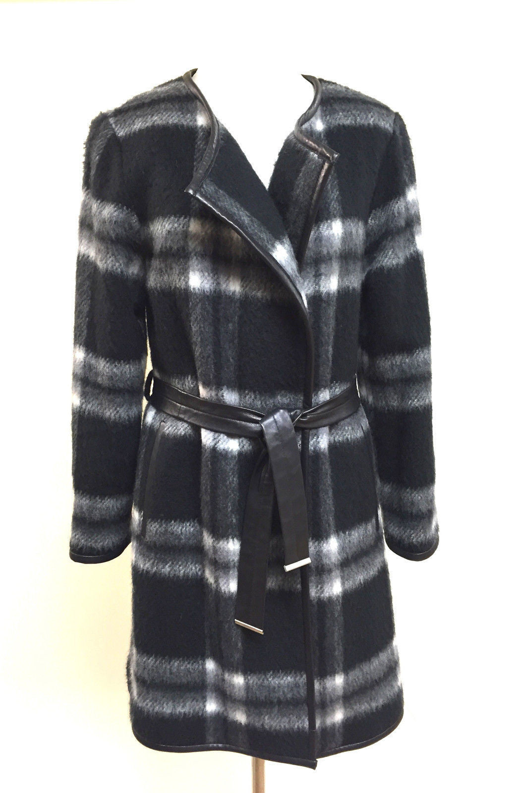 bisbiz.com STEFFEN SCHRAUT  Black Gray White Plaid Wool-Blend Black Leather Belt & Trim Coat Size: 4 - Bis Luxury Resale