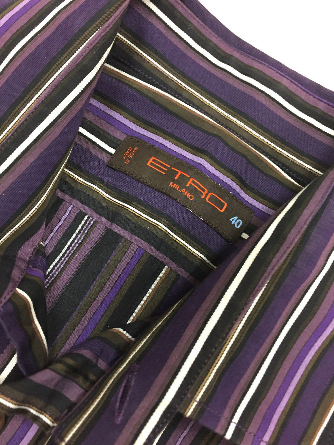 bisbiz.com ETRO - MILANO Purple/Multi-color Multi-striped Cotton Men's Dress Shirt Size: EU40 / M - Bis Luxury Resale