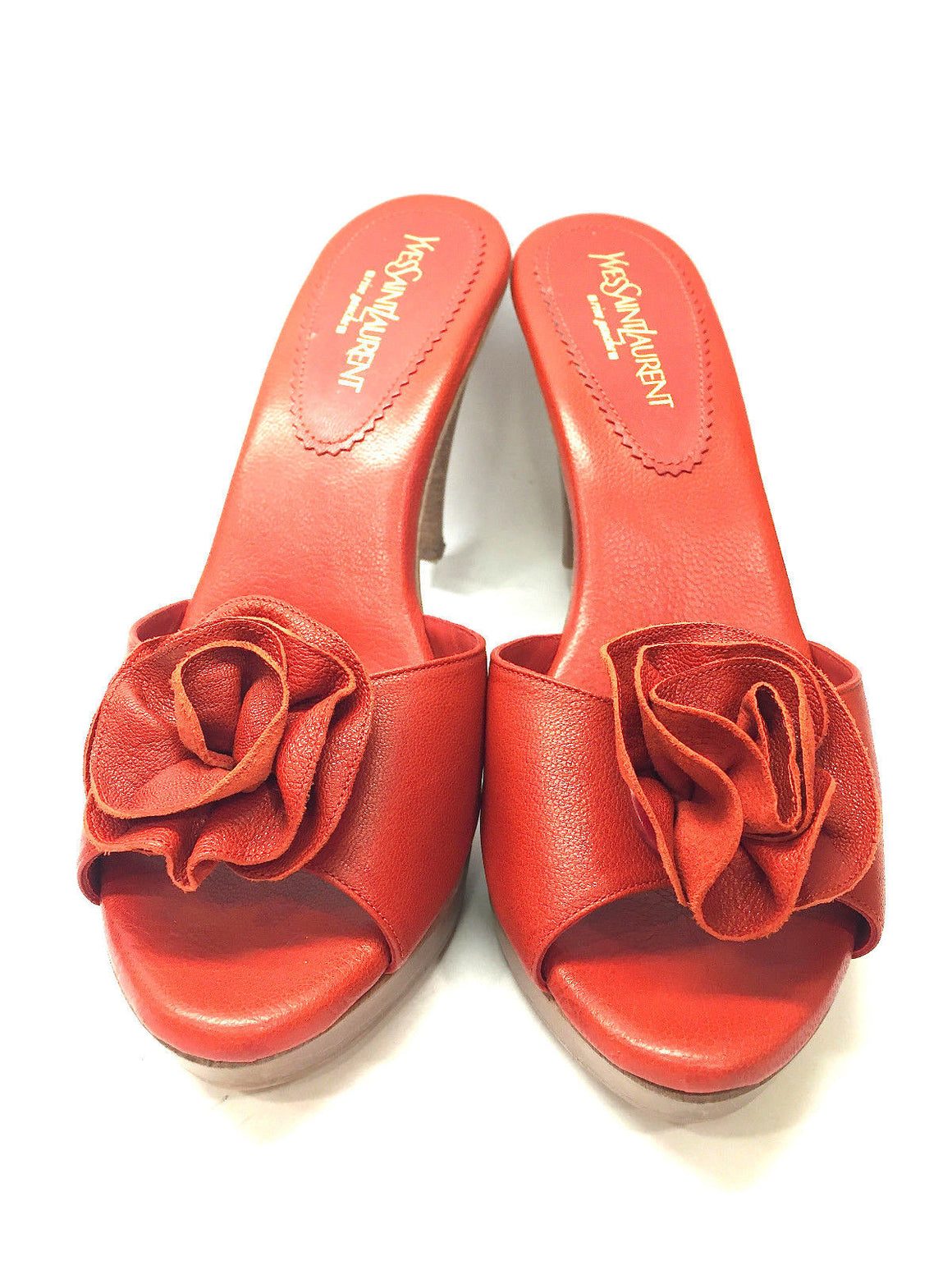 bisbiz.com YVES ST. LAURENT YSL  Burnt-orange Wooden Platform Heel Rosette Mules Sandals - Bis Luxury Resale