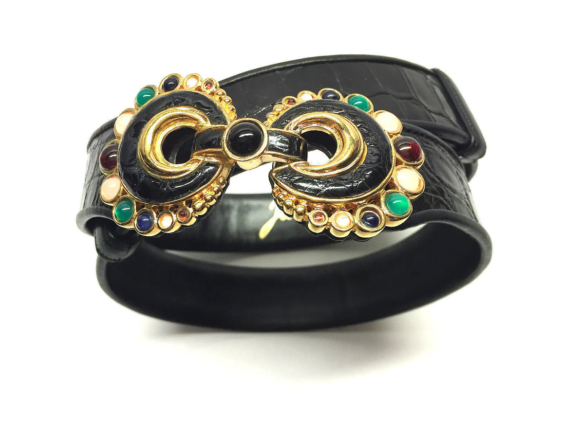 bisbiz.com JUDITH LEIBER Black Alligator Gemstone Jeweled Buckle Slide-Adjustable Belt - Bis Luxury Resale