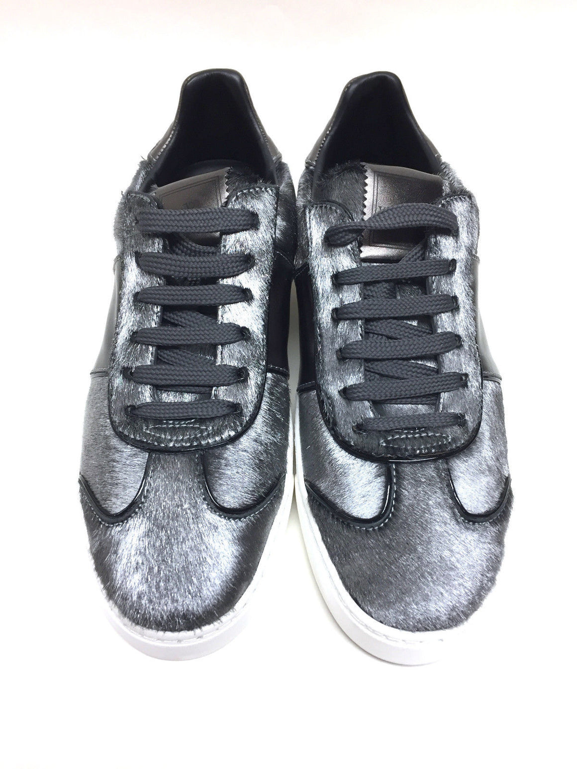 bisbiz.com VALENTINO New Silver Calf-Hair Pewter Leather Rock-Studded Heels Sneakers  Size: EU 38/ US 7.5-8 - Bis Luxury Resale