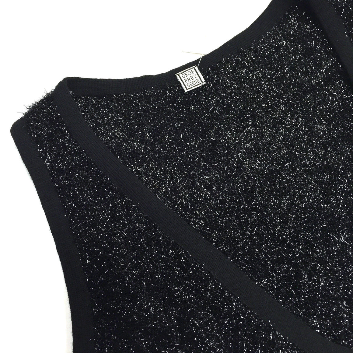 bisbiz.com GEOFFREY BEENE  New with Tags Vintage Black Wool-Blend V-Neck Sleeveless Shimmer Knit Top Size: 8 - Bis Luxury Resale