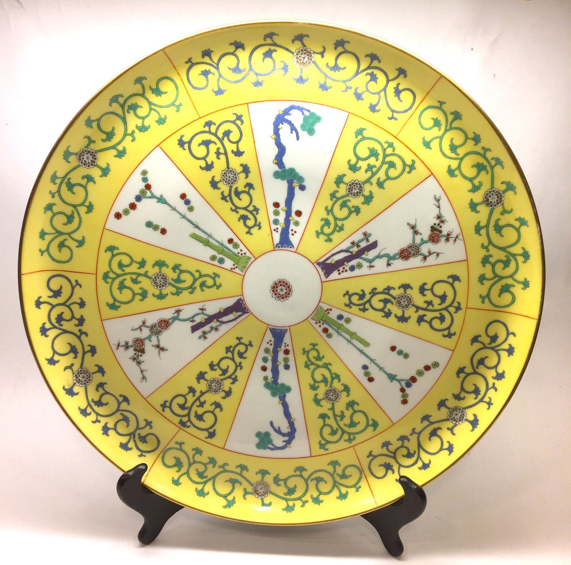 "bisbiz.com HEREND ""YELLOW DYNASTY"" Rare Vintage Large Hors d/Oeuvre Platter/Tray with Six Nesting Bowls - Bis Luxury Resale"