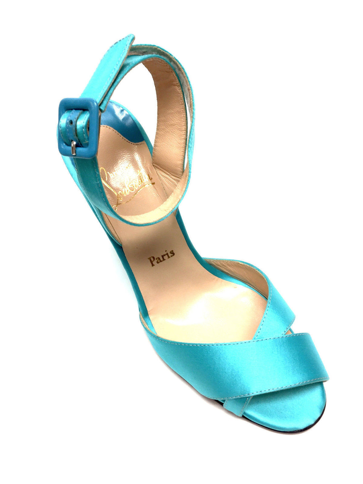 bisbiz.com CHRISTIAN LOUBOUTIN   Turquoise Satin Silk Ankle-Strap Wedge-Heel Sandals  Size: 42 / 11 - Bis Luxury Resale