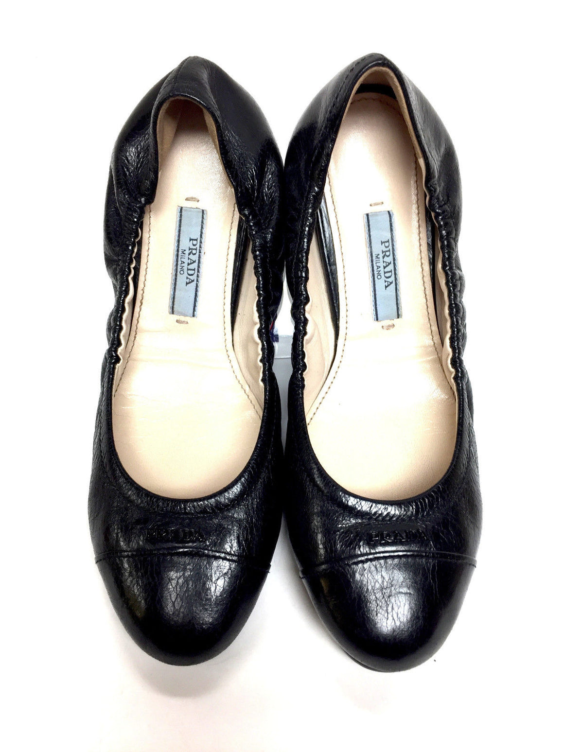 PRADA Black Crackle Leather Elastic Edge Ballet Flats Size: 5.5